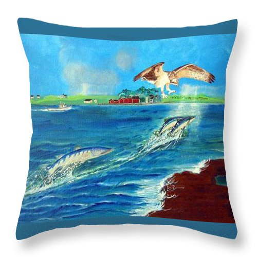 Osprey Throw Pillow featuring the painting Either Way by Richard Le Page