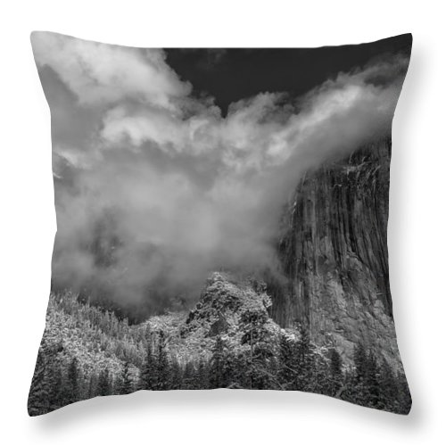 National Park Throw Pillow featuring the photograph El Capitan And The Stormy Clouds by Jonathan Nguyen