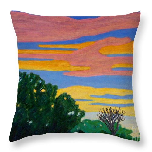 Landscape Throw Pillow featuring the painting El Dorado Afternoon by Brian Commerford