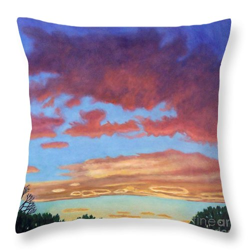 Sunset Throw Pillow featuring the painting El Dorado Sunset by Brian Commerford