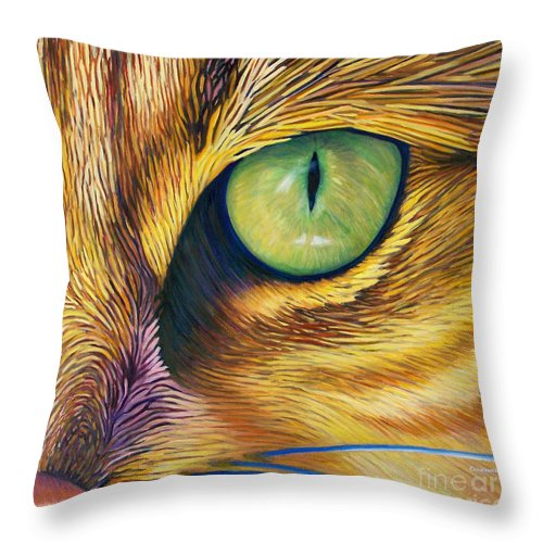 Cat Throw Pillow featuring the painting El Gato by Brian Commerford