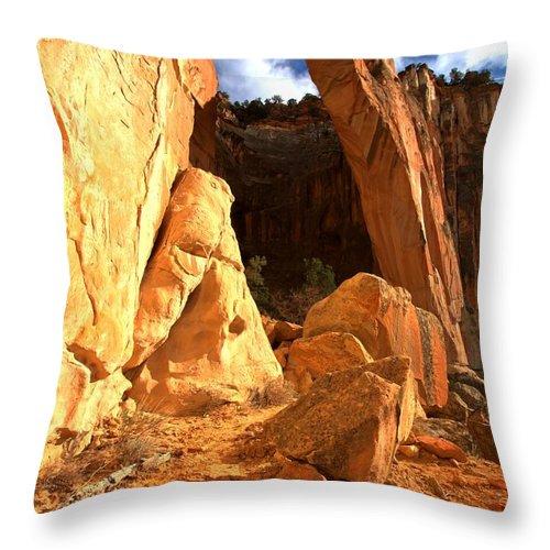 El Malpais Throw Pillow featuring the photograph El Malpais La Ventana Arch by Adam Jewell