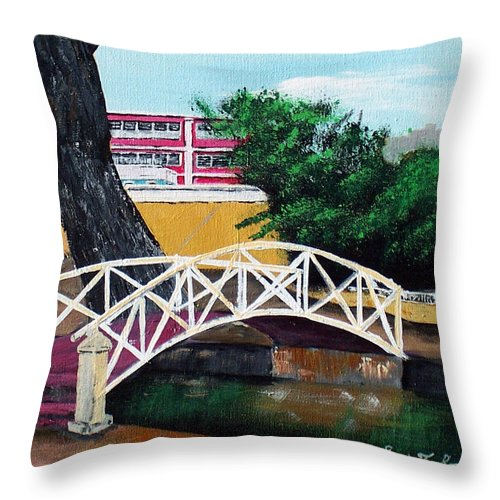 Aguadilla Throw Pillow featuring the painting El Parterre by Luis F Rodriguez