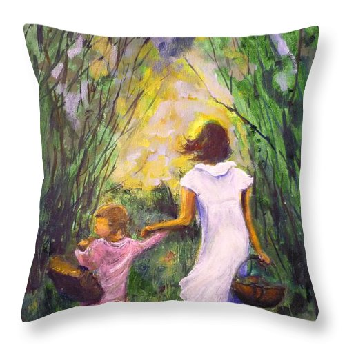 Trees Throw Pillow featuring the painting El Paseo by Lizzy Forrester