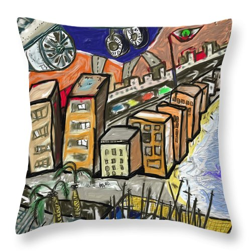 Figurative Throw Pillow featuring the painting El puto boom  by Xavier Ferrer