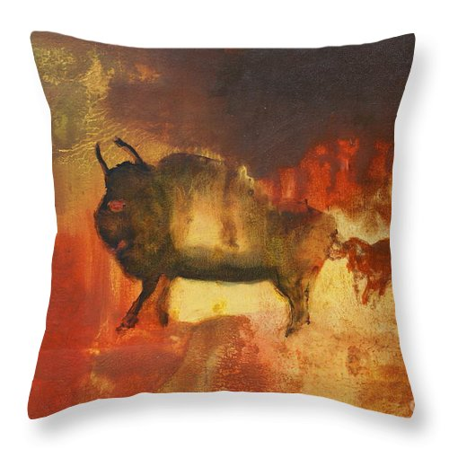 Bull Throw Pillow featuring the painting El Torro by Geegee W