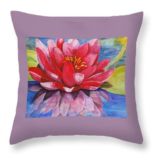Lily Throw Pillow featuring the painting Ela Lily by Jun Jamosmos