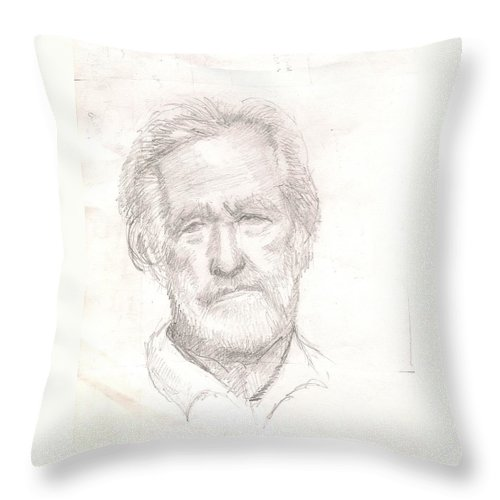 Old Man Throw Pillow featuring the drawing Elderly Man by Asha Sudhaker Shenoy