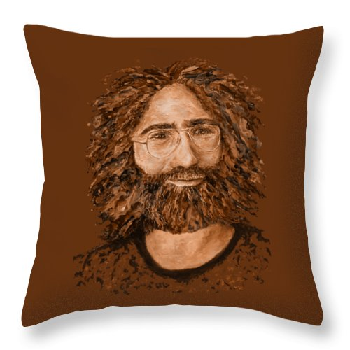 Jerry Throw Pillow featuring the digital art Electric Jerry Desert - T-shirts-etc by Julie Turner