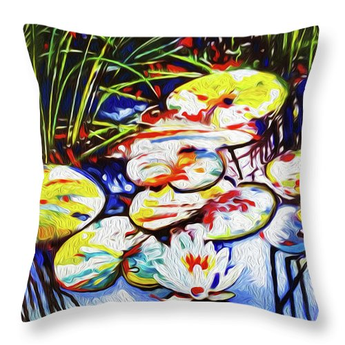 Lilypads Throw Pillow featuring the painting Electric Lillypads by Dennis Kirby
