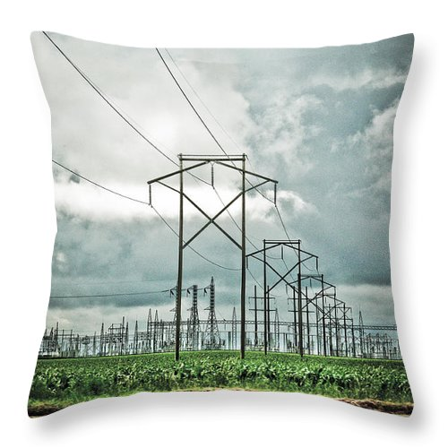Electric Throw Pillow featuring the photograph Electric Lines And Weather by Marilyn Hunt