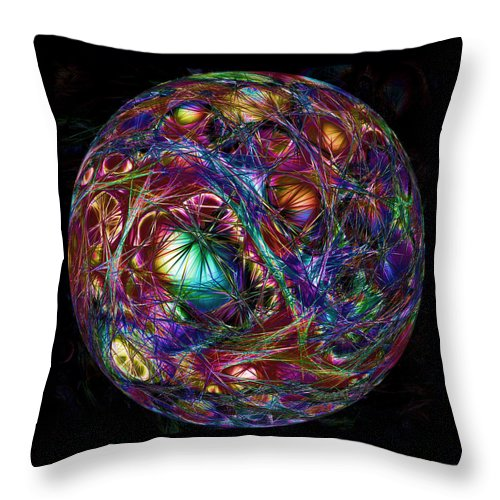 Sphere Throw Pillow featuring the digital art Electric Neon Abstract by John Haldane