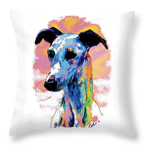 Electric Whippet Throw Pillow featuring the digital art Electric Whippet by Kathleen Sepulveda