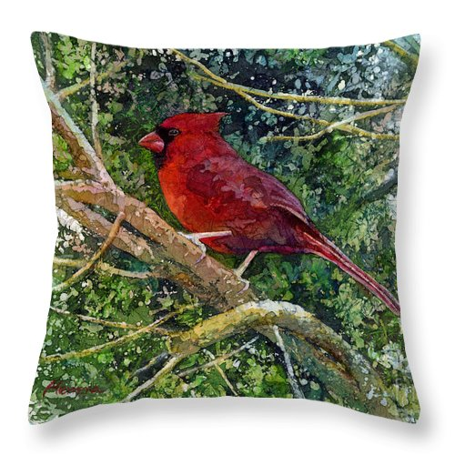 Cardinal Throw Pillow featuring the painting Elegance in Red by Hailey E Herrera