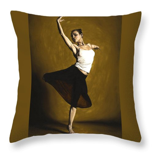 Elegant Throw Pillow featuring the painting Elegant Dancer by Richard Young