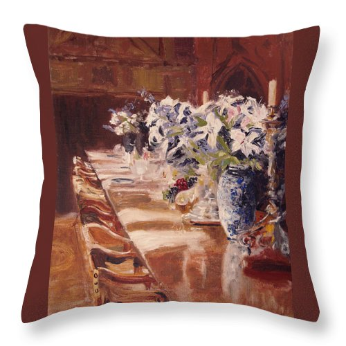 Vases Throw Pillow featuring the painting Elegant Dining At Hearst Castle by Barbara Andolsek