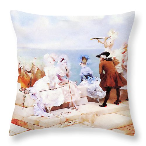 Landscape Throw Pillow featuring the painting Elegant Figures Watching The Regatta by Media Impasto Paper