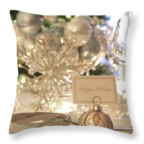 Candle Throw Pillow featuring the photograph Elegant Holiday Dinner Table With Focus On Place Card by Sandra Cunningham