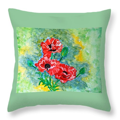 Poppies Flowers Red Yellow Green Blue Acrylic Watercolor Yupo Elegant Landscape Throw Pillow featuring the painting Elegant Poppies by Manjiri Kanvinde