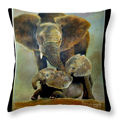 Africa Throw Pillow featuring the painting Elephant Familly by Peter Kulik