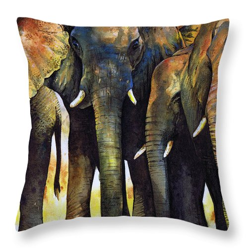 Elephant Throw Pillow featuring the painting Elephant Herd by Paul Dene Marlor