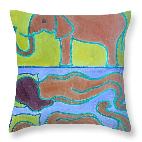 Elephant Throw Pillow featuring the painting Elephant In The Room by Patrick J Murphy