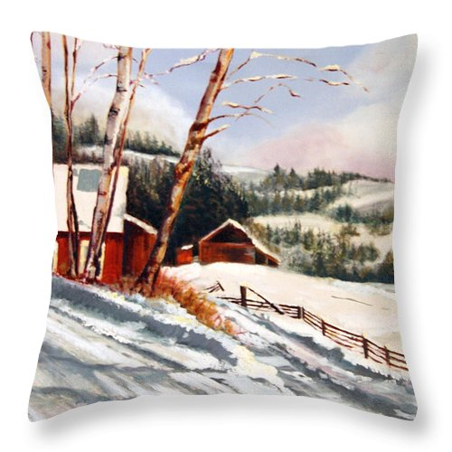 Snow Throw Pillow featuring the painting Elephant Mountain Ranch by Susan Moore