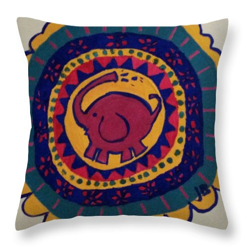 Elephant Throw Pillow featuring the painting Elephant Wheel by Janine Bartram