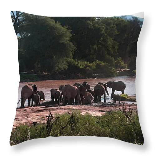 Elephants Throw Pillow featuring the photograph Elephants At Mara River Watercolor by Joseph G Holland