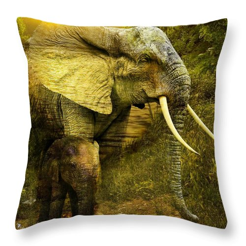 Art Throw Pillow featuring the digital art Elephants In The Golden Light by Ali Oppy