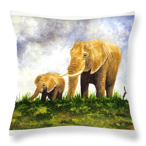 Elephant Throw Pillow featuring the painting Elephants - Mother And Baby by Michael Vigliotti