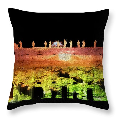 Bruno Cerboni Throw Pillow featuring the painting Elephants On St. Peter by Bruno Cerboni