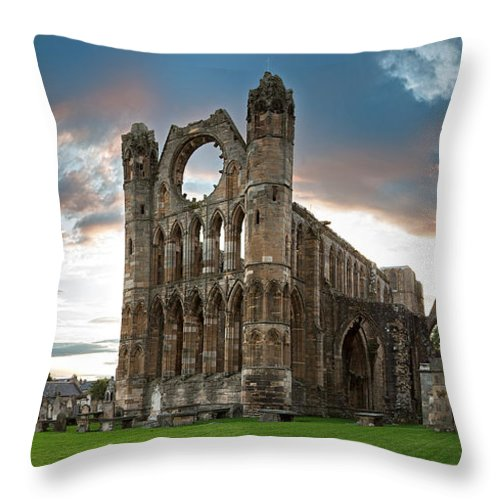 Elgin Throw Pillow featuring the photograph Elgin Cathedral by Jane Rix