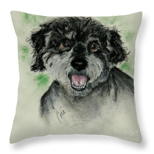 Mutt Throw Pillow featuring the drawing Eli by Cori Solomon