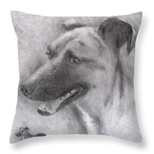 Dog Throw Pillow featuring the drawing Eliot by Jack Skinner