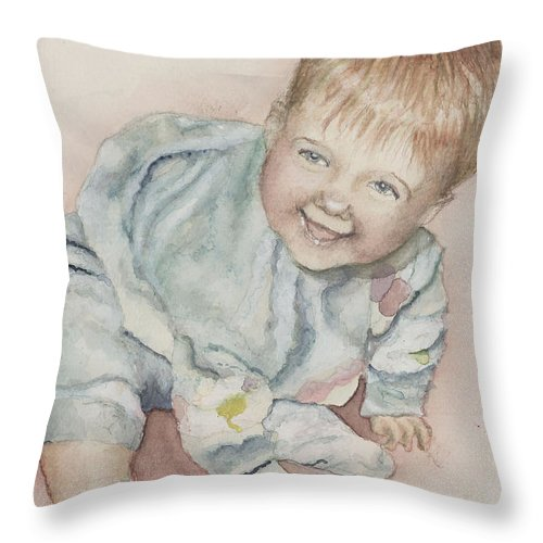 Girl Throw Pillow featuring the painting Elise by Nadine Rippelmeyer