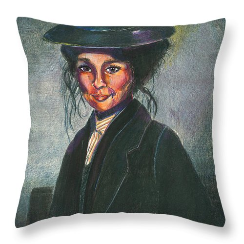 Woman Throw Pillow featuring the mixed media Eliza by Arline Wagner