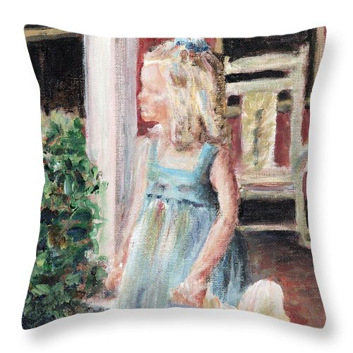 Girl Throw Pillow featuring the painting Elizabeth Anne by Nadine Rippelmeyer