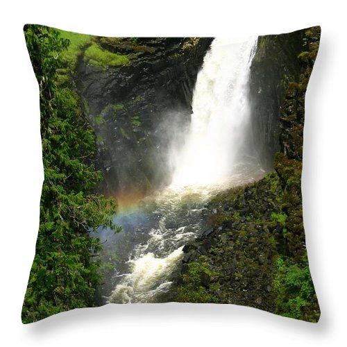 Rainbow Throw Pillow featuring the photograph Elk Creek Falls Rainbow by Idaho Scenic Images Linda Lantzy