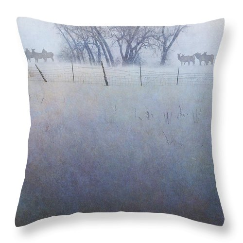 Art Throw Pillow featuring the digital art Elk On The Hill by R christopher Vest