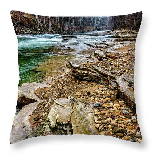 Cherry Falls Throw Pillow featuring the photograph Elk River In The Rain by Thomas R Fletcher