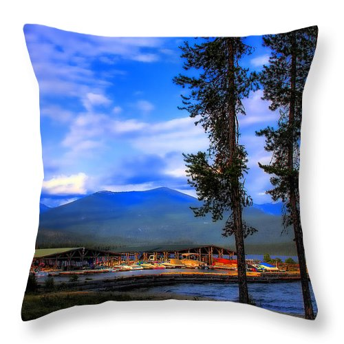 Boathouse Throw Pillow featuring the photograph Elkins Marina by David Patterson