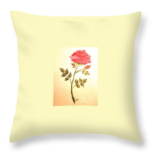 Rose Throw Pillow featuring the painting Ella's Rose by Leea Baltes