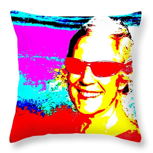 Square Throw Pillow featuring the digital art Ellie On Sunday by Eikoni Images