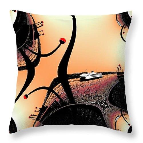 Seattle Throw Pillow featuring the digital art Elliott Bay Ferry Fractal by Tim Allen