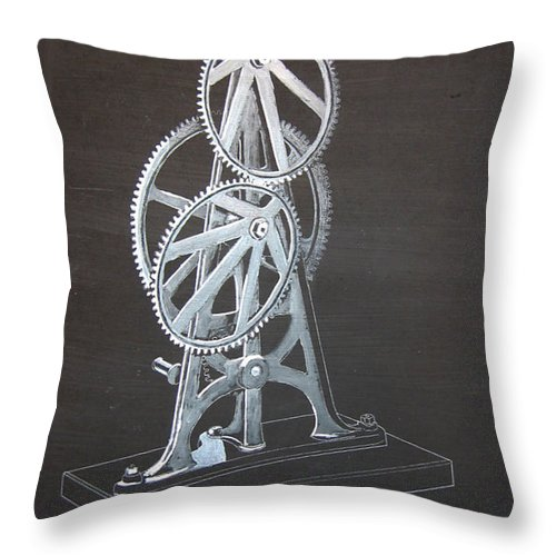 Elliptical Gears Throw Pillow featuring the painting Elliptical Gears by Richard Le Page