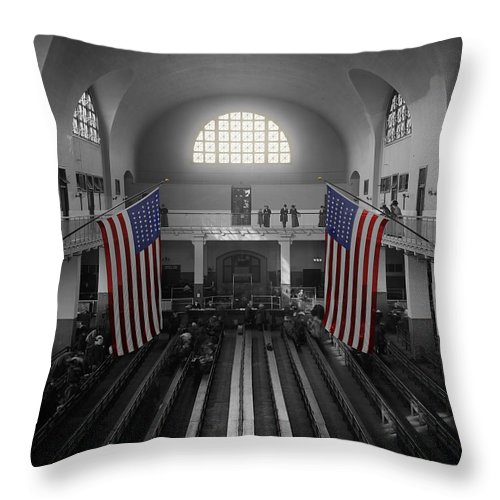 Immigrants Throw Pillow featuring the photograph Ellis Island by Andrew Fare