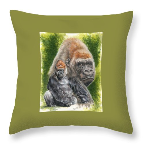 Gorilla Throw Pillow featuring the mixed media Eloquent by Barbara Keith