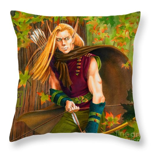 Elf Throw Pillow featuring the painting Elven Hunter by Melissa A Benson