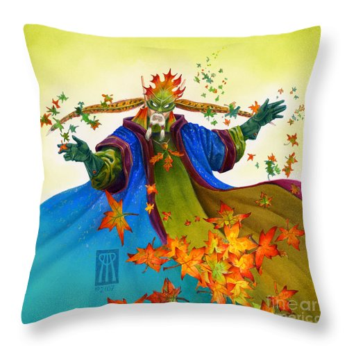 Elf Throw Pillow featuring the painting Elven Mage by Melissa A Benson